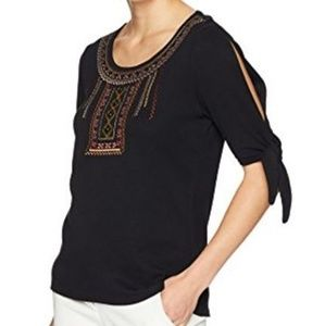 * Rafaella Embroidered Collar Tie Sleeve Top Black